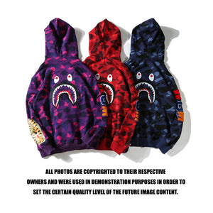 bape shark hoodie sweatshirt embroidered shark back bathing ape
