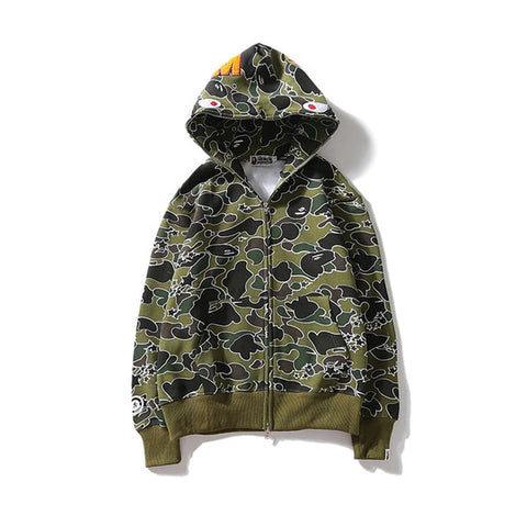 Image of bape shark hoodie sweatshirt marsh camo bathing ape