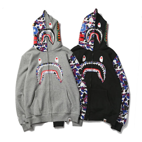 Image of bape shark hoodie sweatshirt Camouflage Print Couple bathing ape