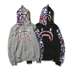 bape shark hoodie sweatshirt Camouflage Print Couple bathing ape