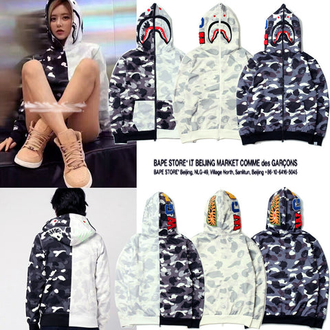 Image of Bape shark hoodie sweatshirt black and white color matching bathing ape