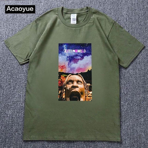 Travis Scotts ASTROWORLD T-Shirts Men/Women Casual Cool O-Neck T Shirt Summer cotton T-shirt Harajuku hip-hop T shirt
