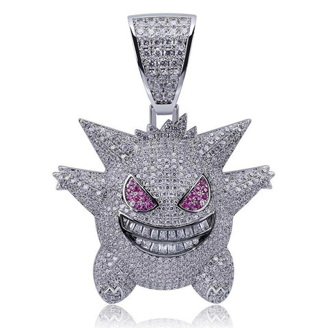Image of JINAO Hip Hop Jewelry Mask Gengar Necklace New Arrival Pokemon Pendant Cubic Zircon Copper Necklace Iced Out Chain Mens Gift