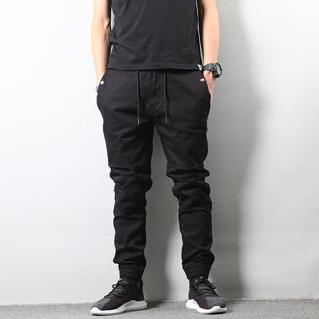 09e3a057cea Japanese Style Fashion Mens Jeans Jogger Pants Destroyed Drawstring Ripped  Jeans Cargo Pants Homme Streetwear Hip