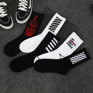 Popular Brand Fashion Men Socks Harajuku Hip Hop Street Skateboard Socks For Male Long Happy Socks Meias Casual Cotton Crew Socks Calcetines Men's Socks