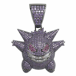 JINAO Hip Hop Jewelry Mask Gengar Necklace New Arrival Pokemon Pendant Cubic Zircon Copper Necklace Iced Out Chain Mens Gift