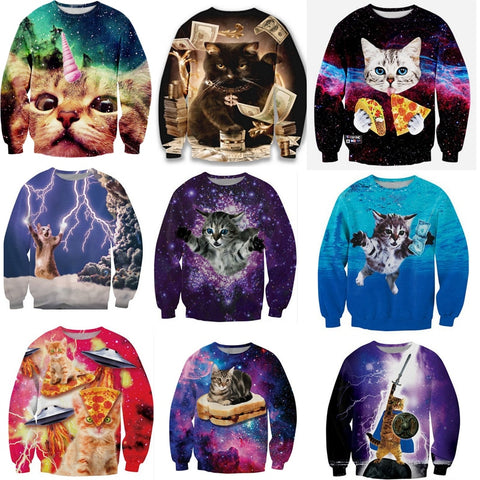 Image of 2019 Cute Cat Women/Men Harajuku Sweatshirt 3d Animal Print Galaxy Space Cat Sweatshirt Hoodies Funny Pizza Winter Clothes