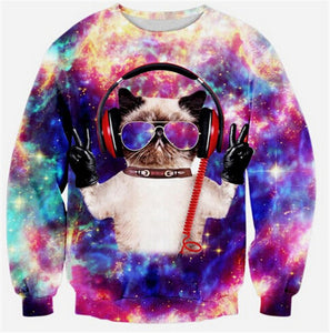 2019 Cute Cat Women/Men Harajuku Sweatshirt 3d Animal Print Galaxy Space Cat Sweatshirt Hoodies Funny Pizza Winter Clothes