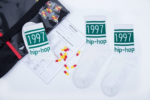 Image of 1 Pair Hip Hop Men's Long Socks Pure Cotton Palaoe Unisex Patter Letter Champioa Socks Street Harajuku Sock Off White Men Socks