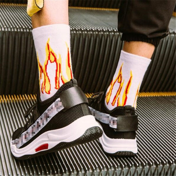 Men Fashion Hip Hop Hit Color On Fire Crew Socks Red Flame Blaze Power Torch Hot Warmth Street Skateboard Cotton Long Socks
