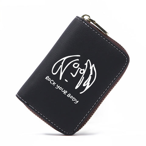 Image of Hiphop Coin Wallet Zipper Small Card Painting Black Passport Holder Wallet Money Bag Monedero Kawaii Minimalist Wallet 50Z0245