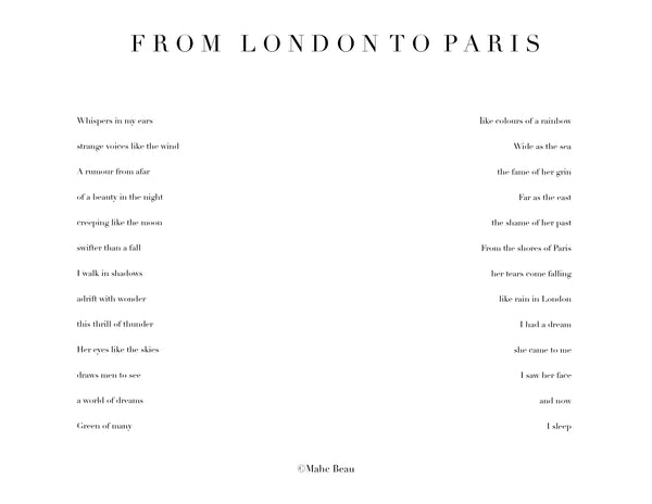 From London To Paris. 500g with complimentary poem™