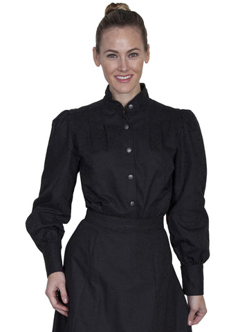 Scully Women's Blouses Band Collar With Full Button Fr
