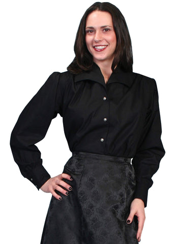 Scully Women's Blouses Wide Lapel Collar Blouse