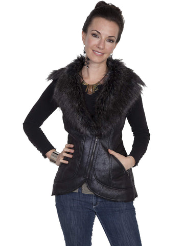 Scully Women's Vests Faux Fur Vest With Zip Front Clos