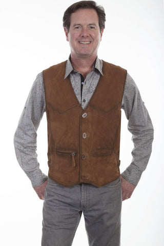 Scully Men's Vests Buffed Lamb Leather Vest