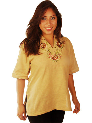 New York Casual Women's Tops Short-Sleeve Collared V-Neck with Floral Embroidery