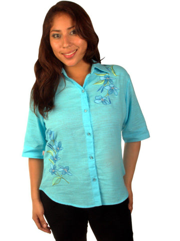 New York Casual Women's Shirts Short-Sleeve V-Square-Neck with Floral Embroidery
