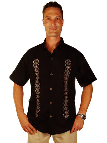 New York Casual Men's Shirts Embroidered Tessellations Design Semi-Spread Collar