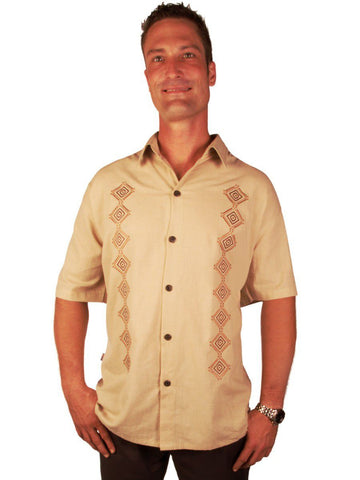 New York Casual Men's Shirts Embroidered Concentric Diamond Semi-Spread Collar