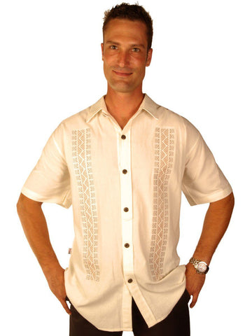 New York Casual Men's Shirts Embroidered Grecian Key Semi-Spread Collar