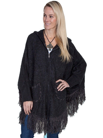 Scully Women's Ponchos Hooded Zip Front Poncho With Tw