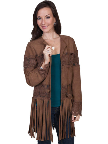 Scully Women's Coats Lamb Suede Coat With Long Fringe