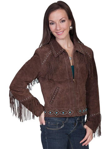 Scully Women's Jackets Studded Suede Twisted Fringe Ja