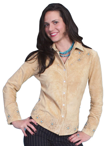 Scully Women's Shirts Studded Boar Suede Western Shirt