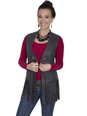 Scully Women's Vests Long Fringe Featherlite Leather V