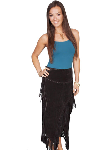Scully Women's Skirts Long Suede Tie Side Fringe Skirt