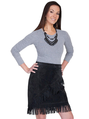 Scully Women's Skirts Western Suede Fringe Skirt