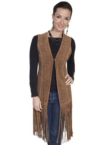 Scully Women's Vests Suede Fringe Vest With Front Lase