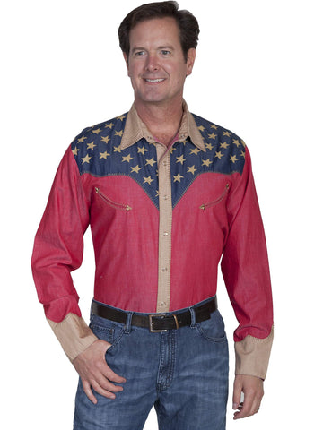 Scully Men's Shirts Patriotic Shirt With Pick Stitch D