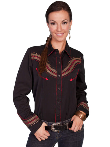 Scully Women's Shirts Tan And Red Shirt With Embroider