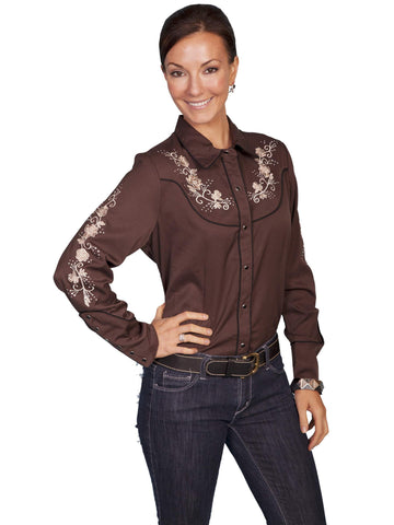 Scully Women's Blouses Western Pink Floral Embroidery