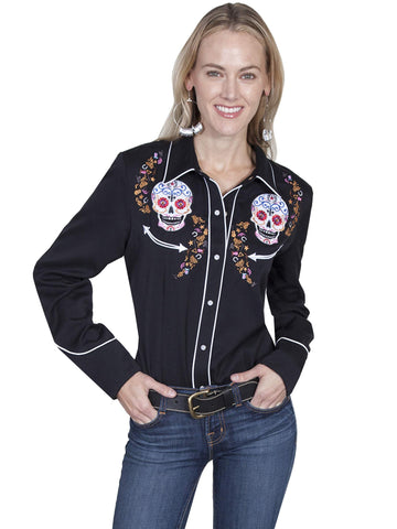 Scully Women's Shirts Day Of The Dead Embroidered Shir