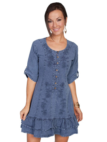 Scully Women's Dresses Cotton Three Quarter Sleeve Dre