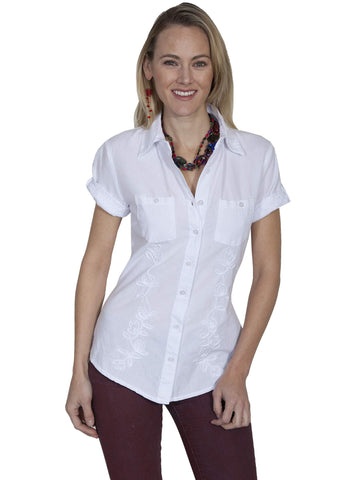 Scully Women's Shirts Cotton Blouse With Full Button F