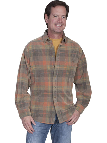 Scully Men's Shirts Corduroy Plaid Shirt