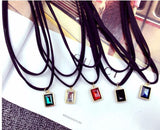 Multilayer Black Choker with Charm Pendant