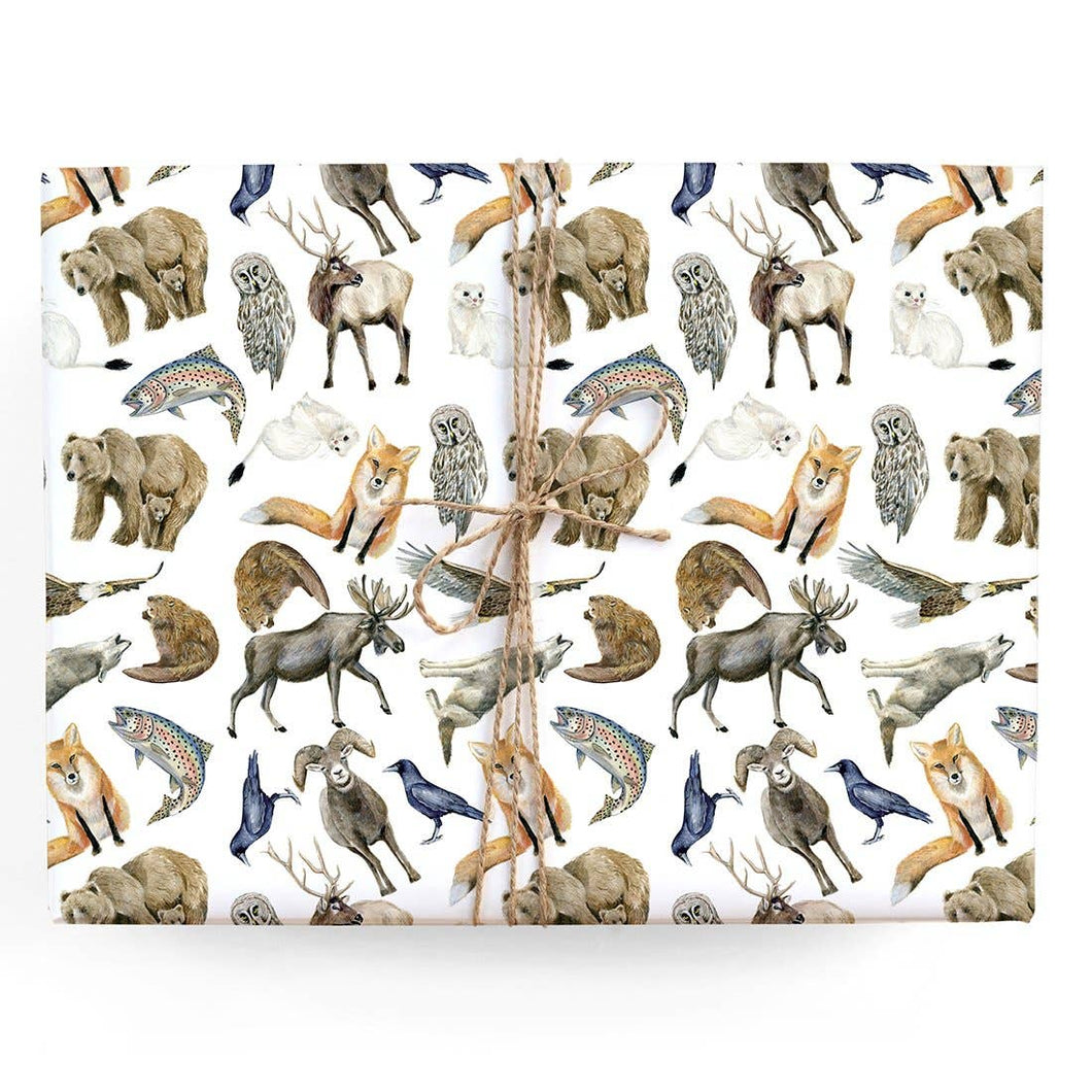 Mountain Animals Gift Wrap Single Sheet