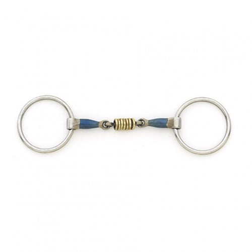 Centaur Blue Steel Double Jointed Mouth Loose Ring with Brass Rollers