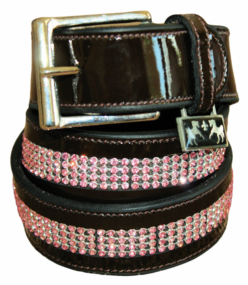 Equine Couture Bling Leather Belt - Havana with Pink Stones