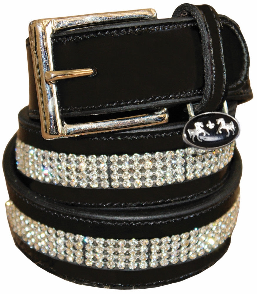 Equine Couture Bling Leather Belt - Black with White Stones