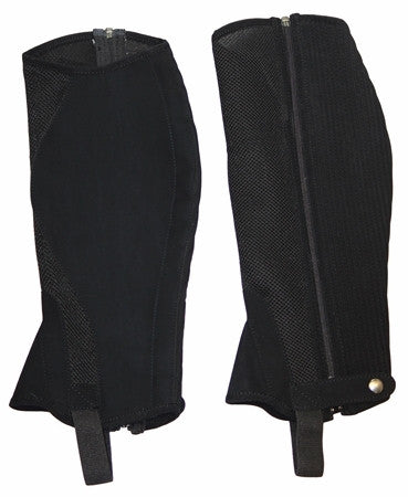 TuffRider Adult Airflow Synthetic Half Chaps - Black