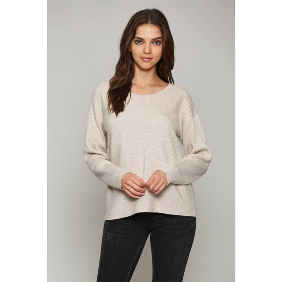 CASHMERE BLEND RIBBED SWEATER