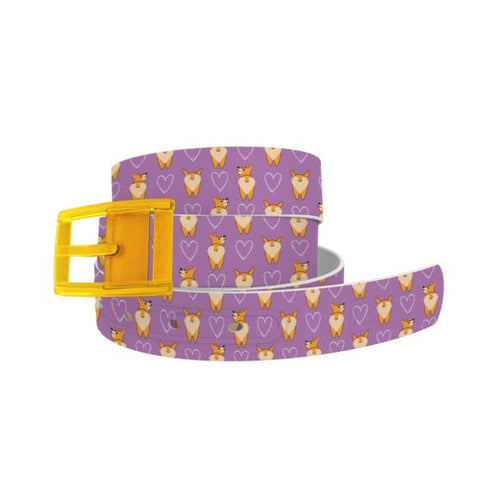 Corgi Butts Belt with Yellow Buckle Combo