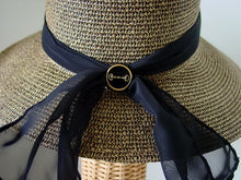 Bit Button Lampshade Paper Braid Hat with Sheer Ribbon