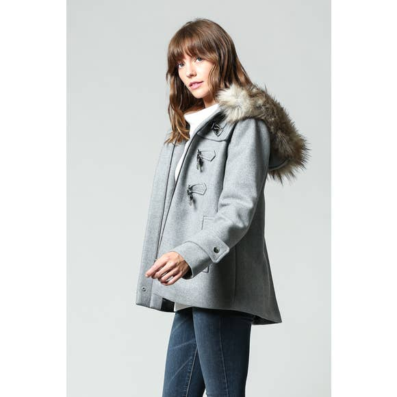 FAUX FUR HOODED WOOL JACKET (GREY)